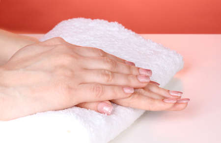 Female hands on towel photo