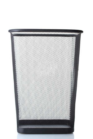 empty metal trash bin  isolated on white photo