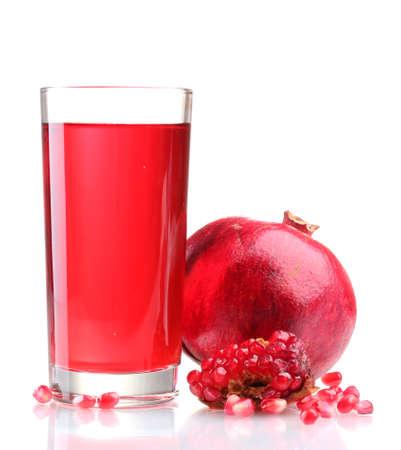 pomergranate: ripe pomergranate and glass of juice isolated on white  Stock Photo