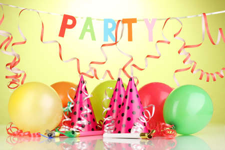 traditional parties: Party items on green background Stock Photo