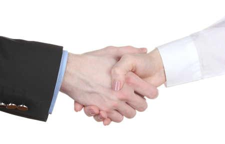 business handshake: Business handshake isolated on white