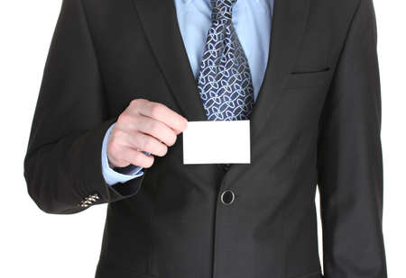 businessman holding credit card isolated on white photo
