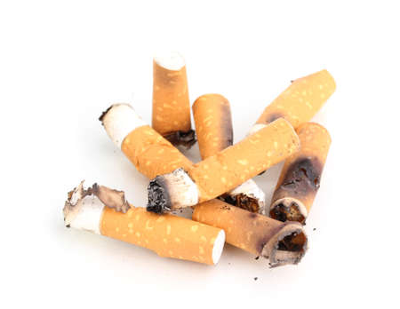 Cigarette butts isolateed on white photo