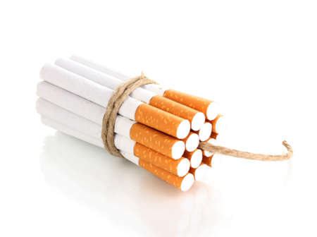 Cigarettes tied with rope and wick isolateed on white Stock Photo - 12800902