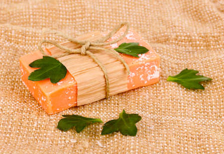 Hand-made natural soap on sackcloth Stock Photo - 12799531