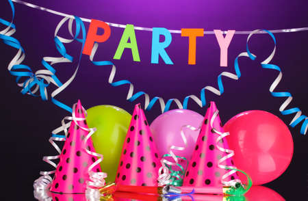 children party: Party items on purple background