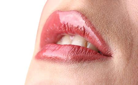 beautiful make up of gloss lips photo