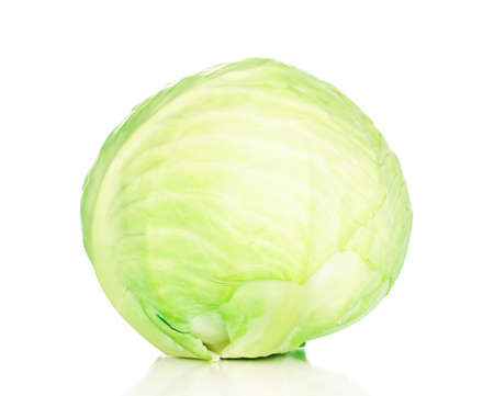 Fresh green cabbage isolated on white Stock Photo - 12822459