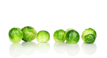 Fresh brussels sprouts isolated on white Stock Photo