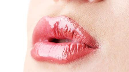 mouth close up: beautiful make up of gloss lips