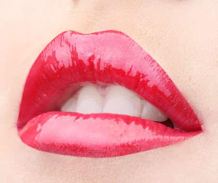 beautiful make up of glamour red gloss lips Stock Photo - 12821516