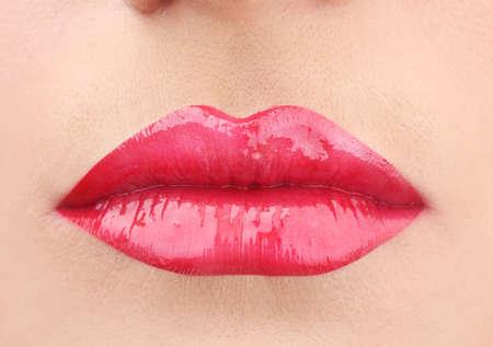beautiful make up of glamour red gloss lips Stock Photo - 12821599
