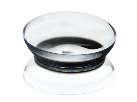 shortsightedness: contact len isolated on white
