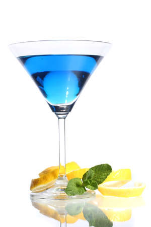 Blue cocktail in martini glass isolated on white photo
