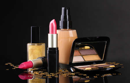 Сosmetics isolated on black Stock Photo - 12980071