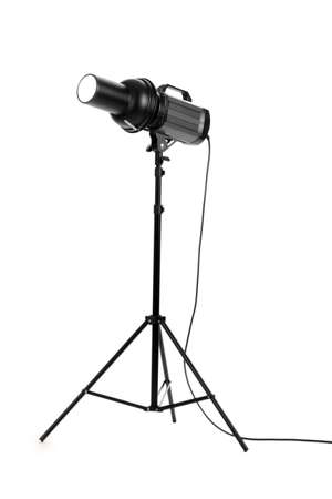 Professional studio flash isolated on white photo