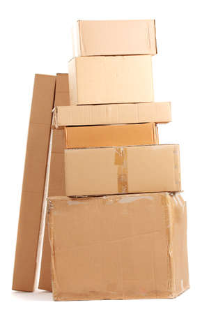Brown cardboard boxes isolated on white Stock Photo - 12980087