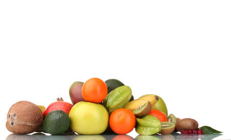 Assortment of exotic fruits isolated on white Stock Photo - 12980348