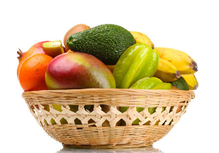 Assortment of exotic fruits in basket isolated on white Stock Photo - 12980088