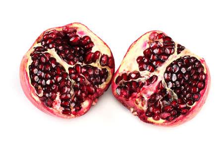 ripe pomegranate fruit isolated on white photo