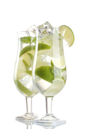 glasses of cocktail with lime and mint isolated on white photo