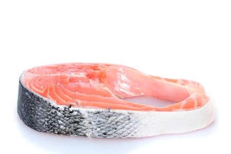 fresh salmon steak isolated on white Stock Photo - 12980105
