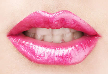 beautiful make up of glamour pink gloss lips photo