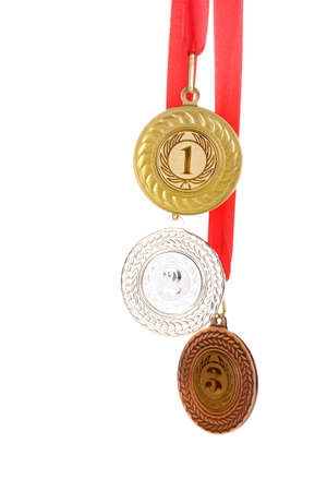 Three medals isolated on white photo