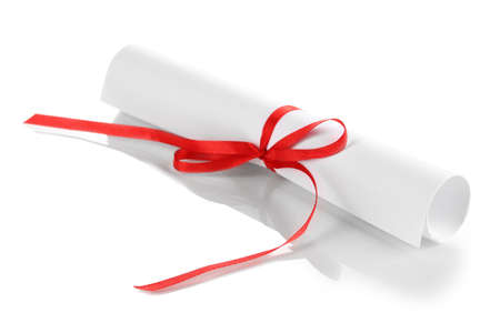 postgraduate: Graduation diploma tied with ribbon isolated on white