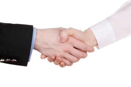 negotiating: Business handshake isolated on white
