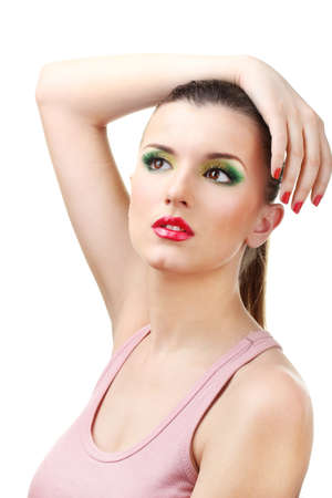 portrait of sexy young woman with glamour make up and red manicure photo