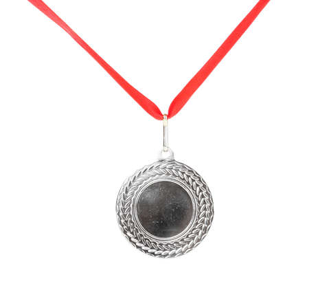 Silver medal isolated on white photo