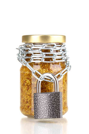 distinguishing: Secret ingredient with chain and padlock isolated on white