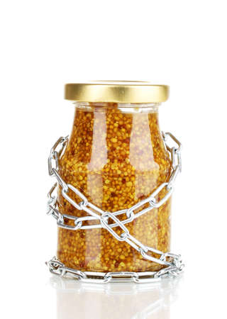 distinguishing: Secret ingredient with chain isolated on white Stock Photo