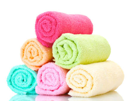 colorful towels isolated on white Stock Photo - 12979562