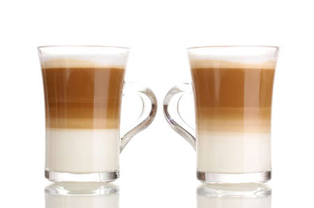 Fragrant сoffee latte in glass cups isolated on white Stock Photo - 13026708
