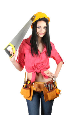 beautiful young girl-builder  holding saw isolated on white photo