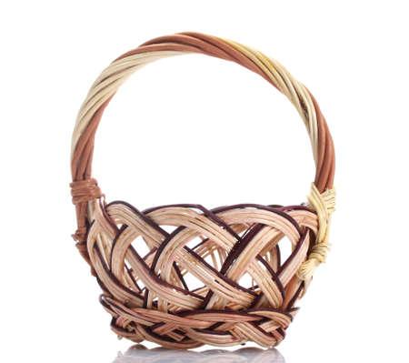 cepelia: empty wicker basket isolated on white
