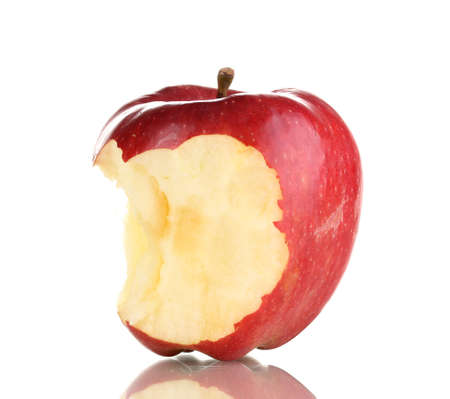 Red bitten apple isolated on white Reklamní fotografie