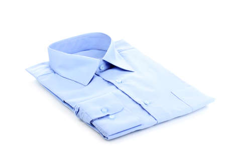 formal dress: New blue mans shirt isolated on white