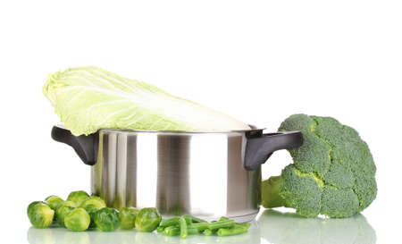 Saucepan with cabbages and broccoli isolated on white Stock Photo - 13052829