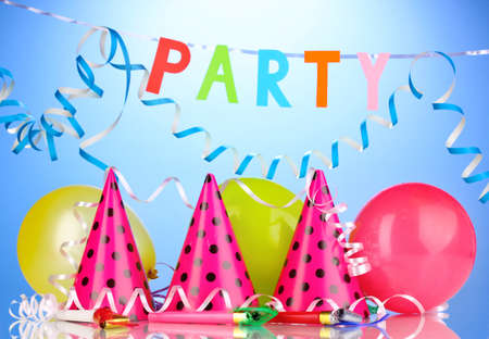Party items on blue background