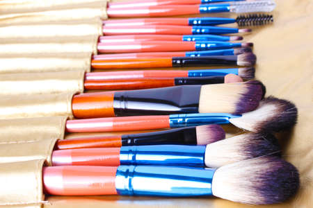 Set of make-up brushes in golden leather case close up photo