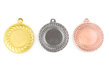 Three medals isolated on white Stock Photo - 13061724