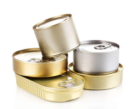 canned food: Tin cans isolated on white Stock Photo