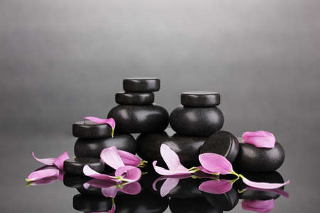 Spa stones and petals on grey background Stock Photo - 13099913