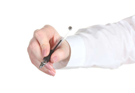 Woman hand with pen isolated on white Stock Photo - 13099486
