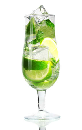 cool mint: cold fresh lemonade isolated on white