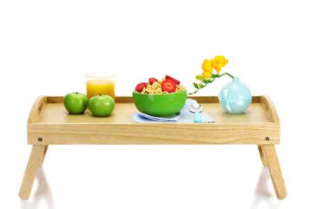 light breakfast on wooden tray isolated on white Stock Photo - 13099597