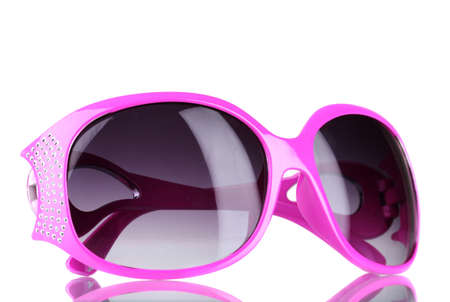 sunglasses reflection: Womens pink sunglasses with diamonds isolated on white Stock Photo